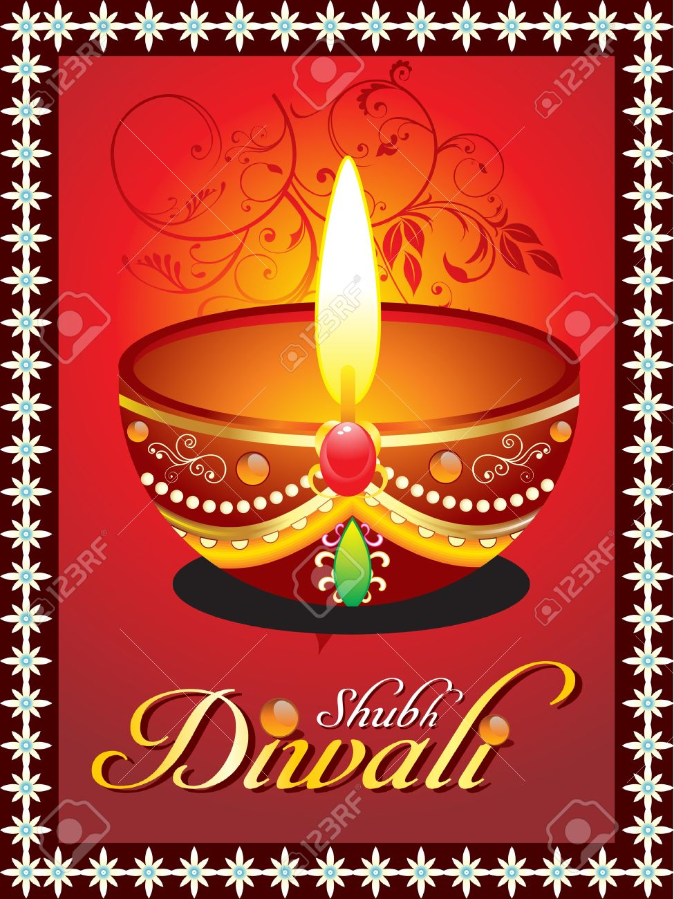 abstract diwali greeting card with floral Stock Vector - 10998651