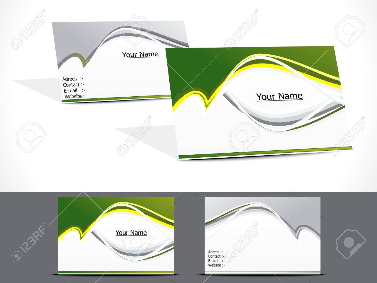 Abstract Green Business Card Vector Illustration Royalty Free ...
