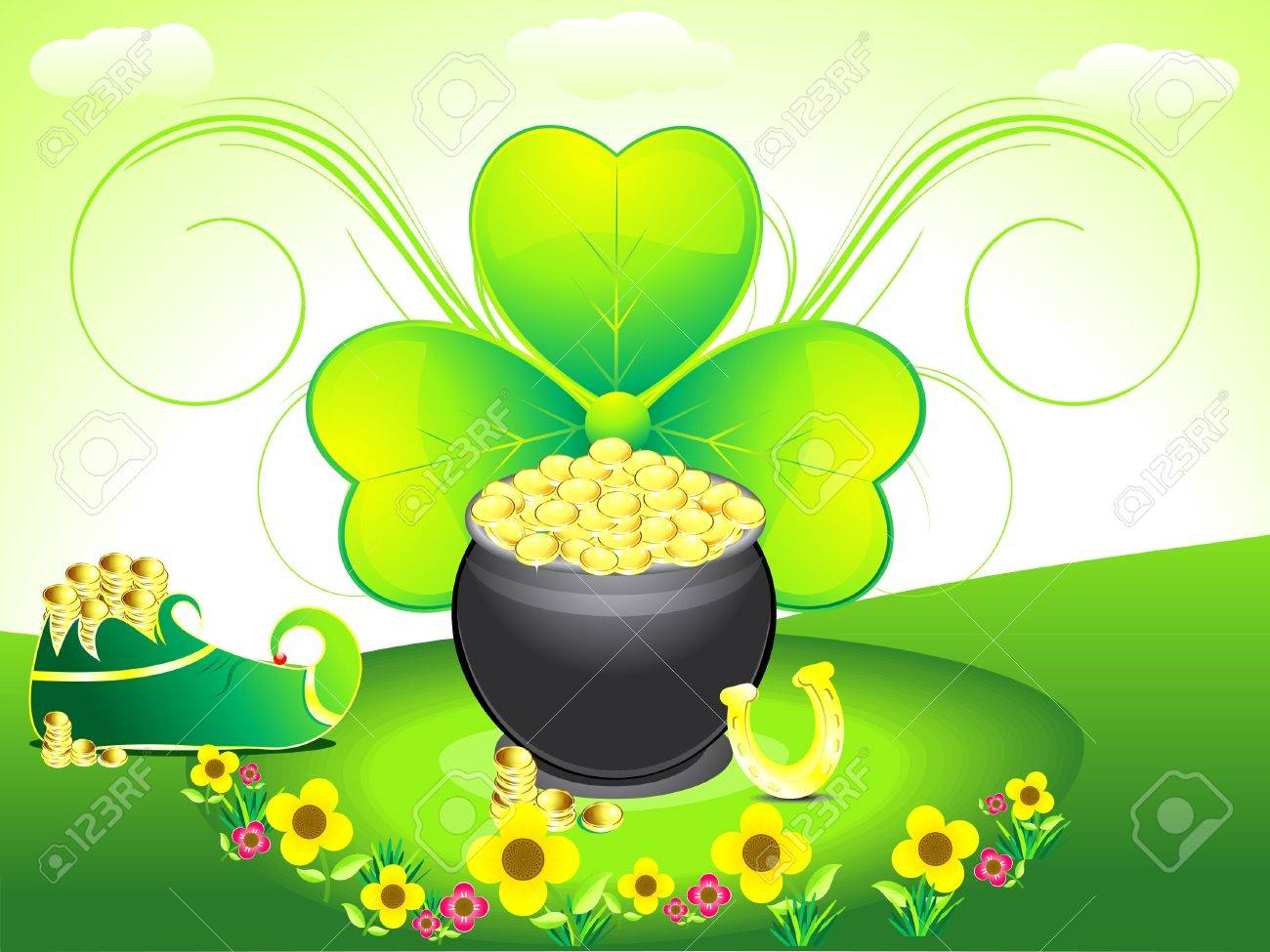 abstract st patricks backrgound with shoes vector illustration Stock Vector - 12654322