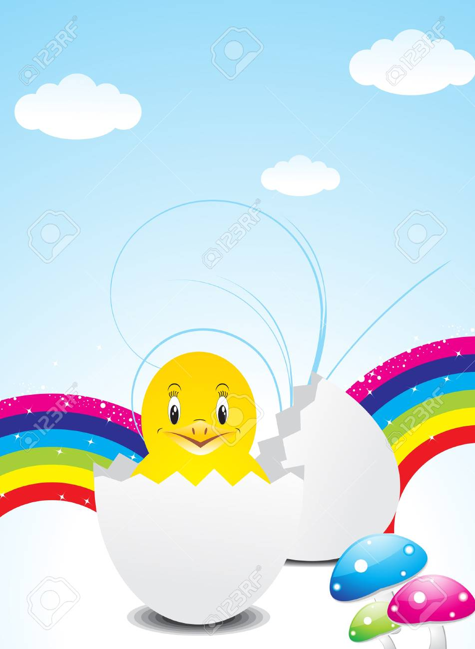abstract colorful easter wth bird vector illustration Stock Vector - 12772241