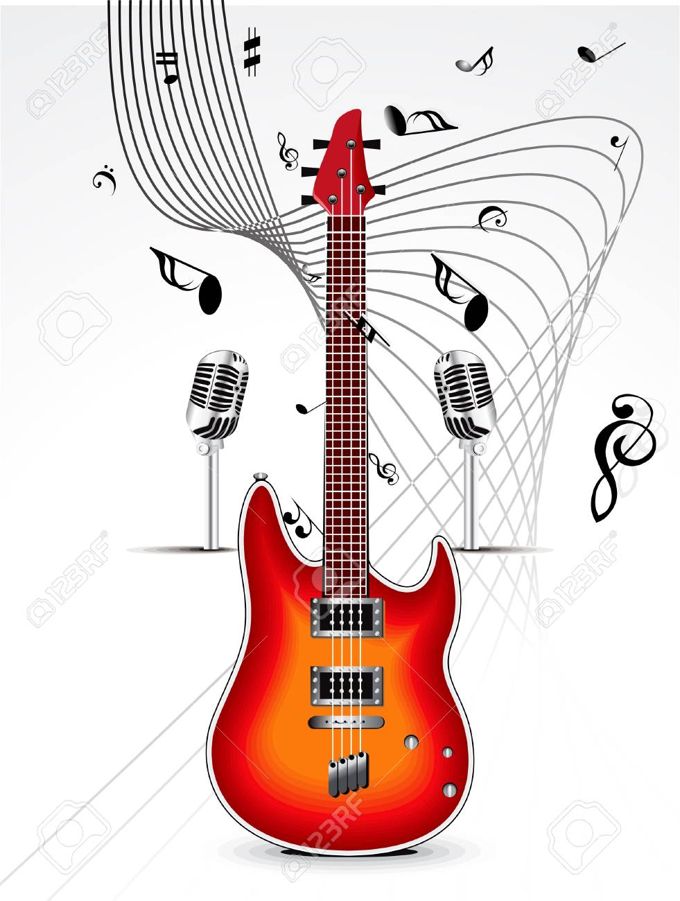 abstract mysical background with guitar Stock Vector - 14078184