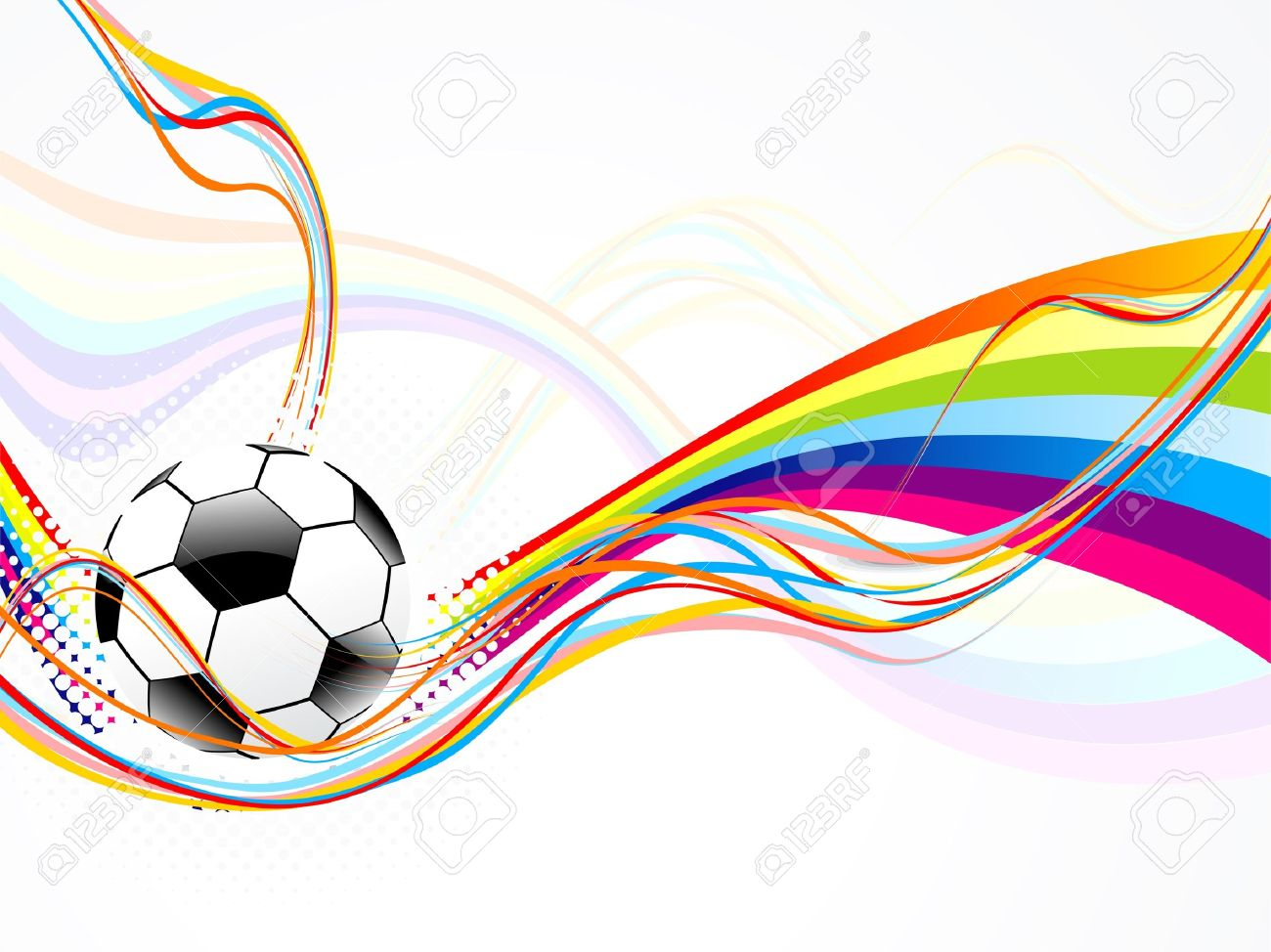 Abstract Wave Background With Football Stock Vector