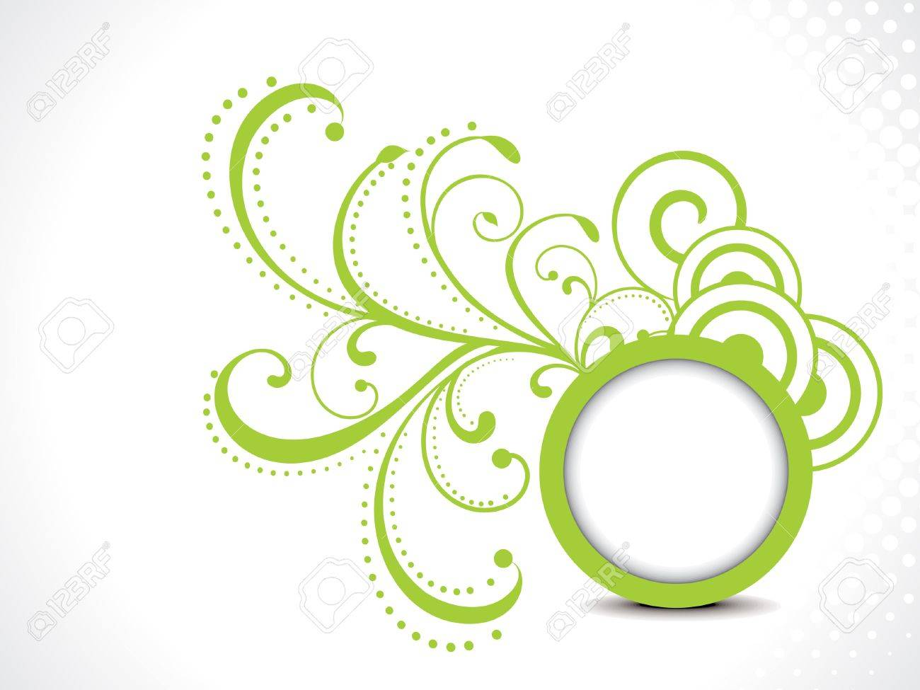 abstract green floral background with circle Stock Vector - 20685078