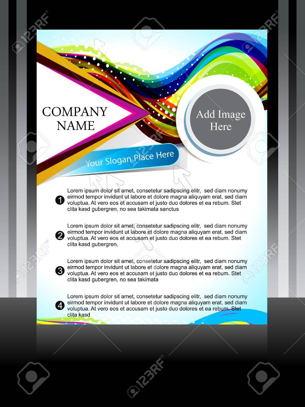 Vector coloful flyer with wave vector illustration Stock Vector - 23205928