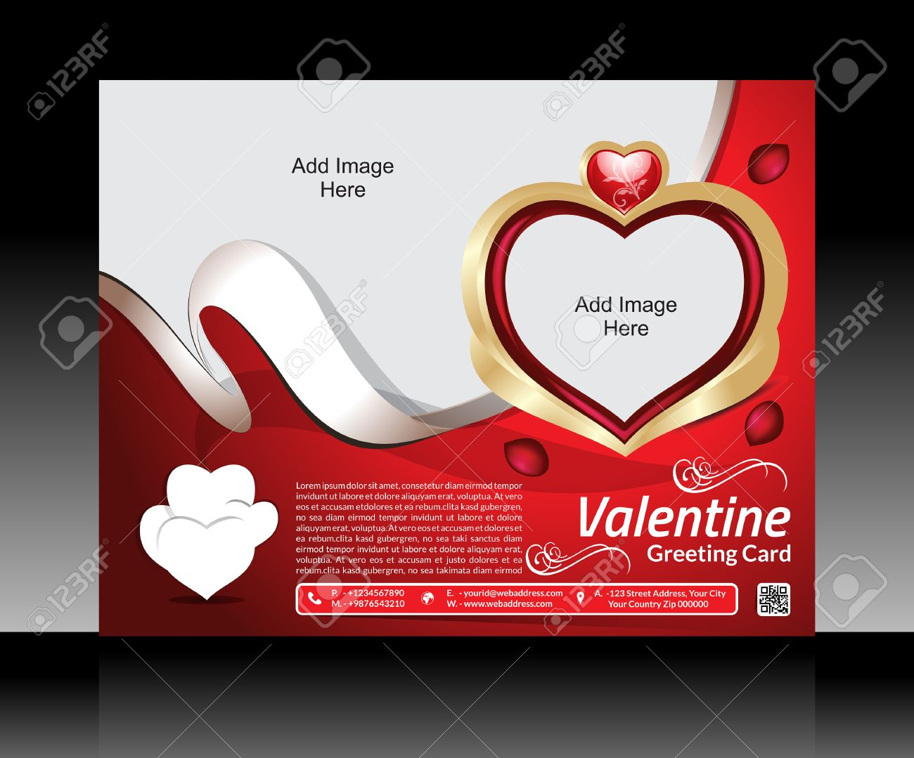 Valentine Day Flyer Template Vector Illustration Royalty Free ...