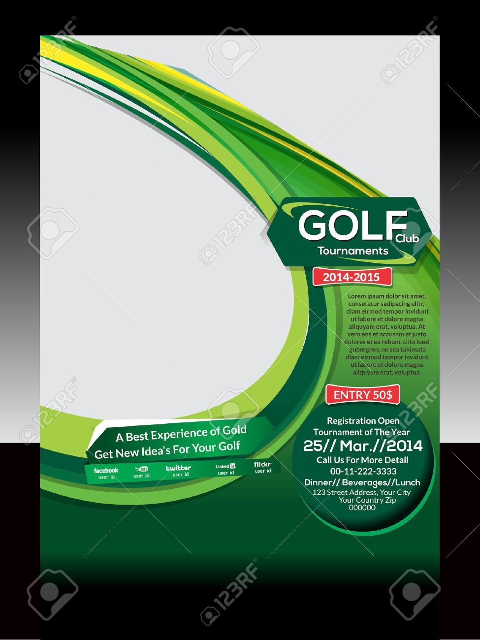 Golf Flyer Template Vector Illustration Royalty Free Cliparts ...