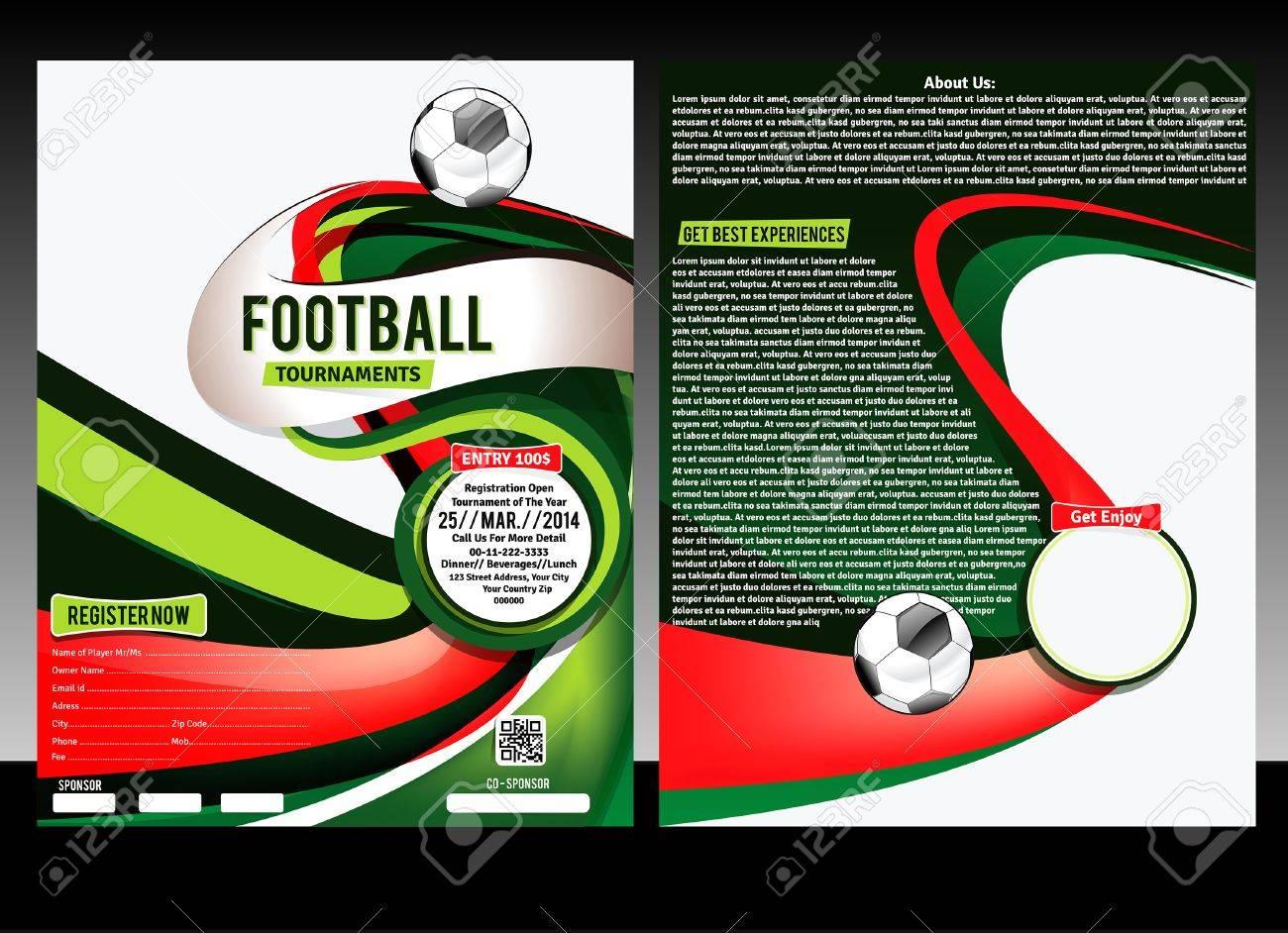 Fußball-Flyer-Schablone Vektor-Illustration Lizenzfrei Nutzbare ...