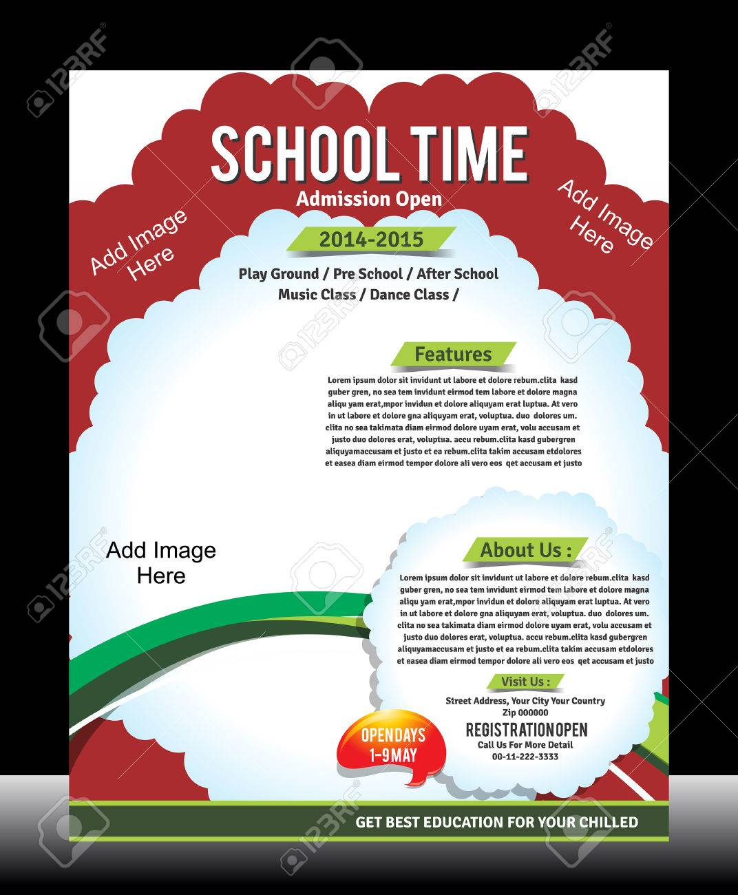 school promotion flyer template vector illustration royalty free