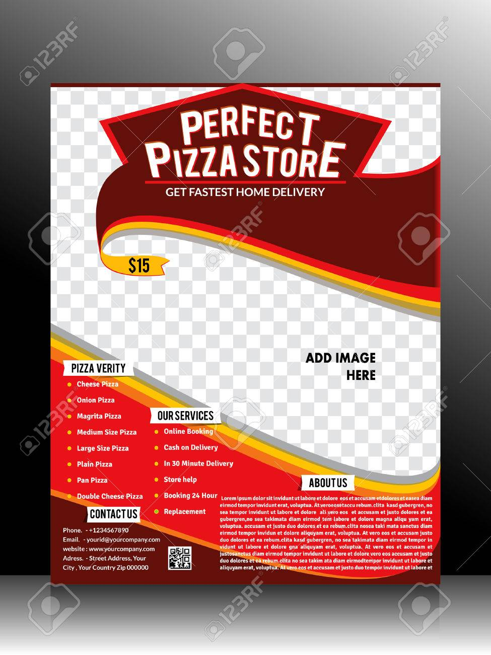 perfect pizza store flyer template vector illustration royalty free