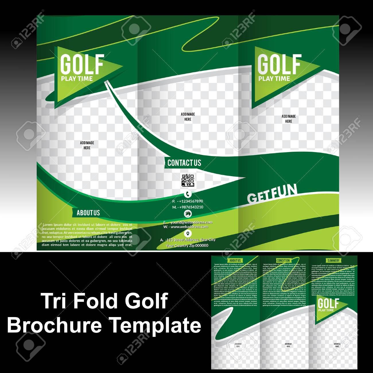 tri fold golf brochure template vector illustration stock vector 31875845