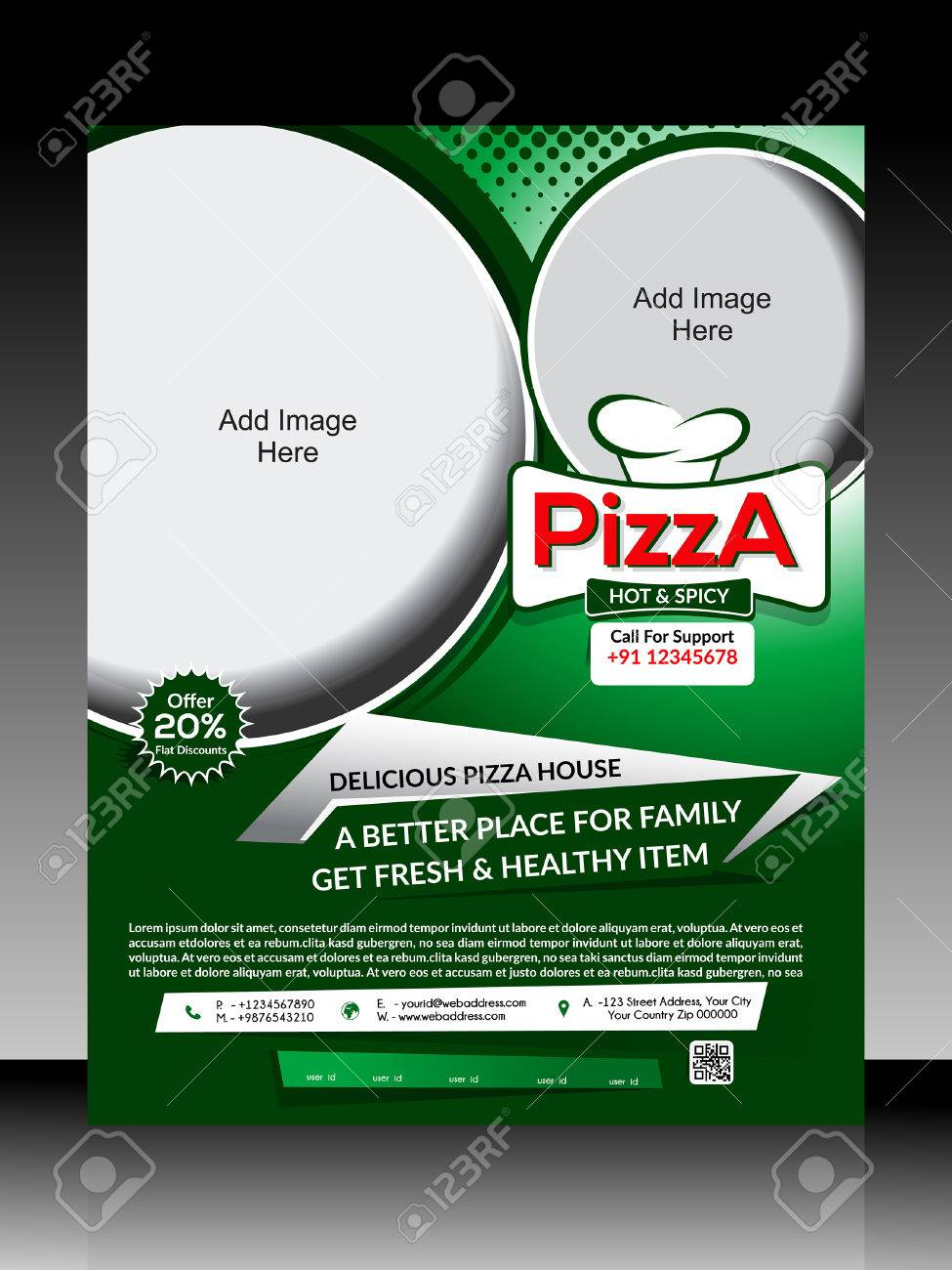 pizza flyer template illustration stock vector 32566795