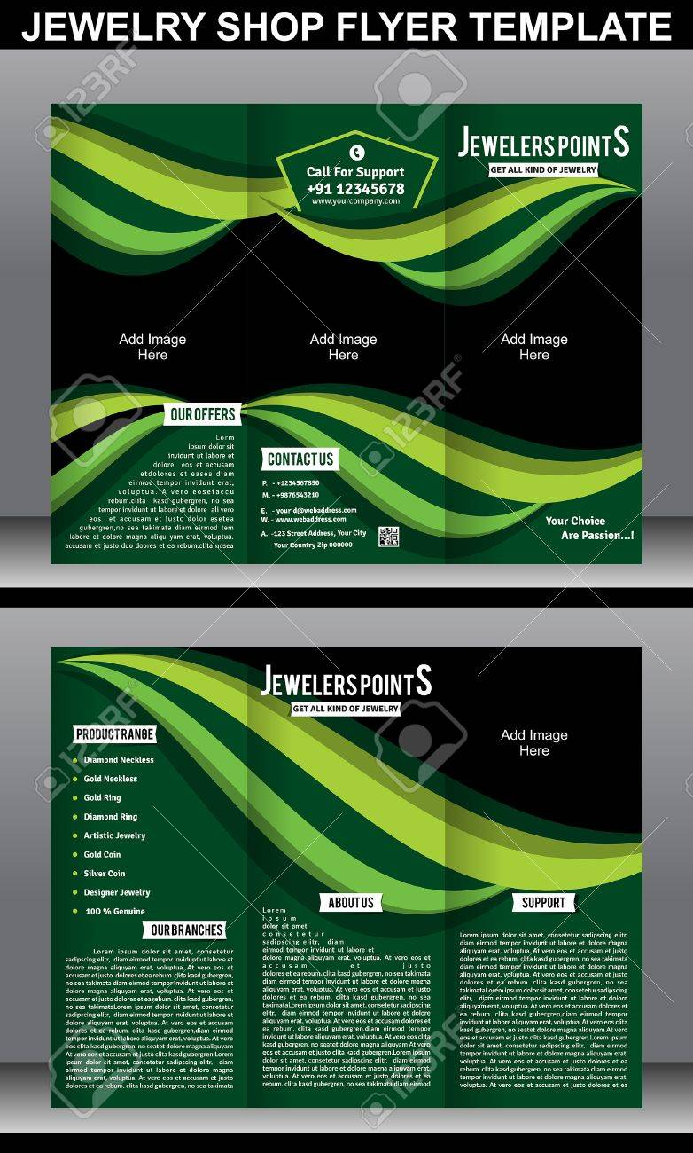 Tri Fold Jewelry Shope Brochure Template Vector Illustration Royalty