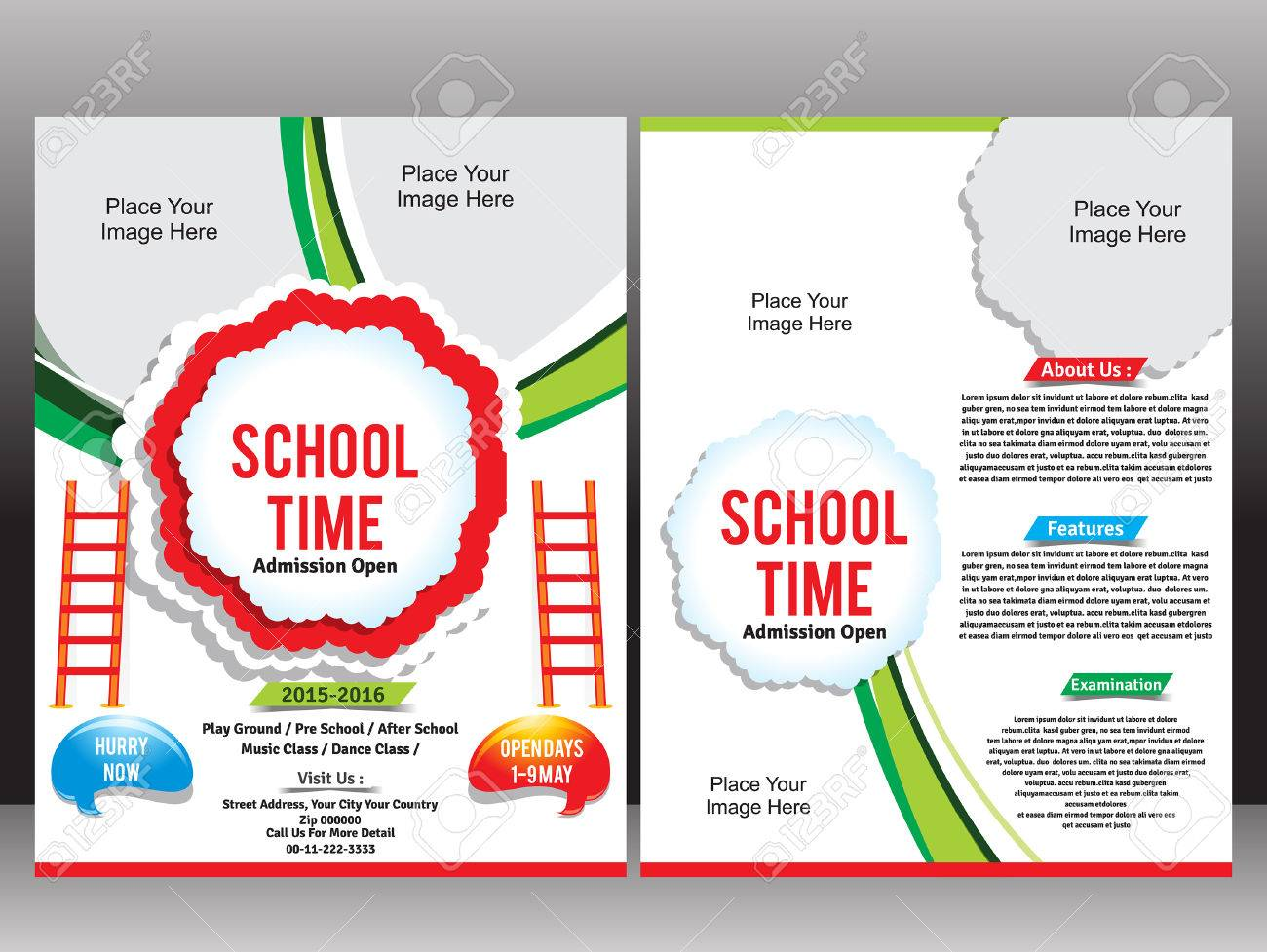 School Admission Flyer Template vector illustration