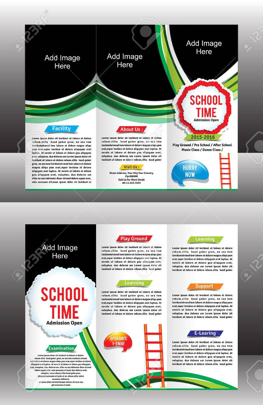 Tri Fold School Brochure Template Vector Illustration Royalty Free - Tri fold school brochure template