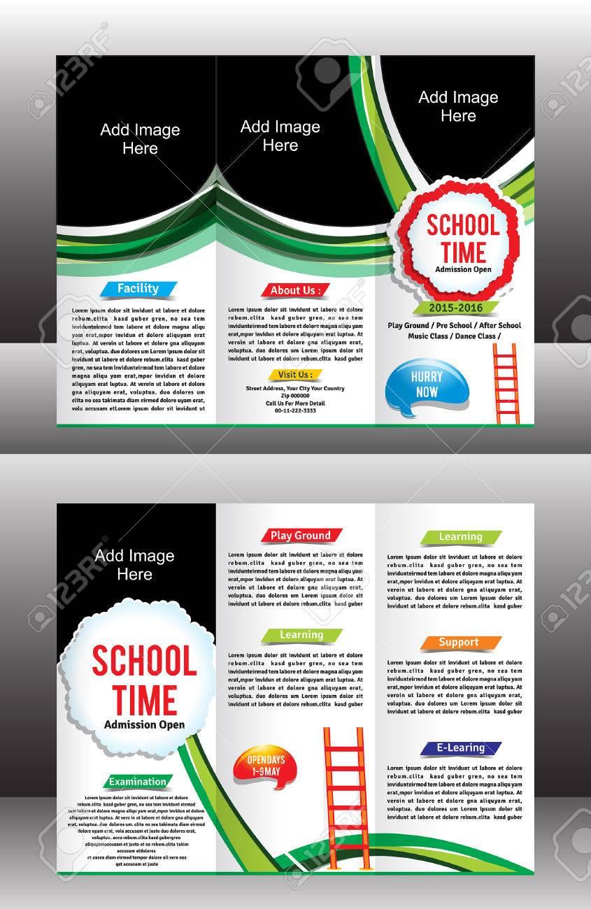 Tri Fold School Brochure Template Vector Illustration Royalty Free ...