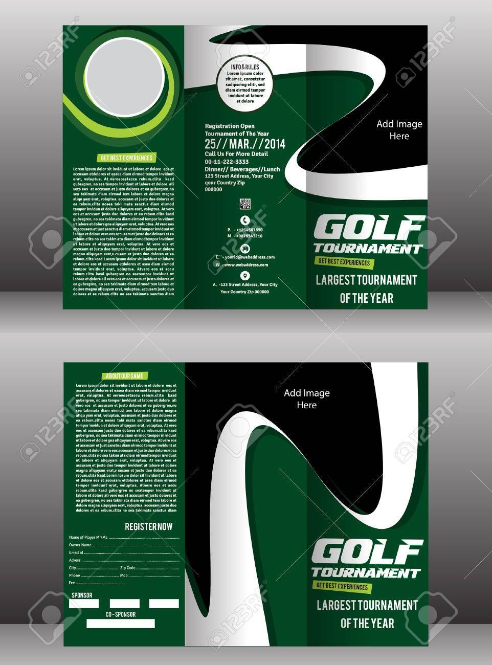 tri fold golf brochure flyer template vector illustration stock vector 38966192
