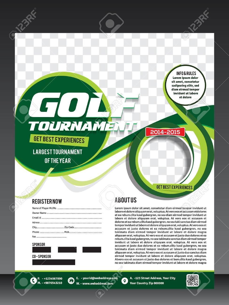 Golf Tournament Flyer Template Vector Illustration Royalty Free