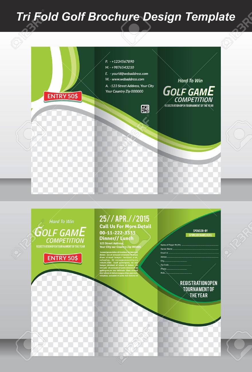 Tri Golf Brochure Template Design Vector Illustration Royalty Free - Golf brochure templates