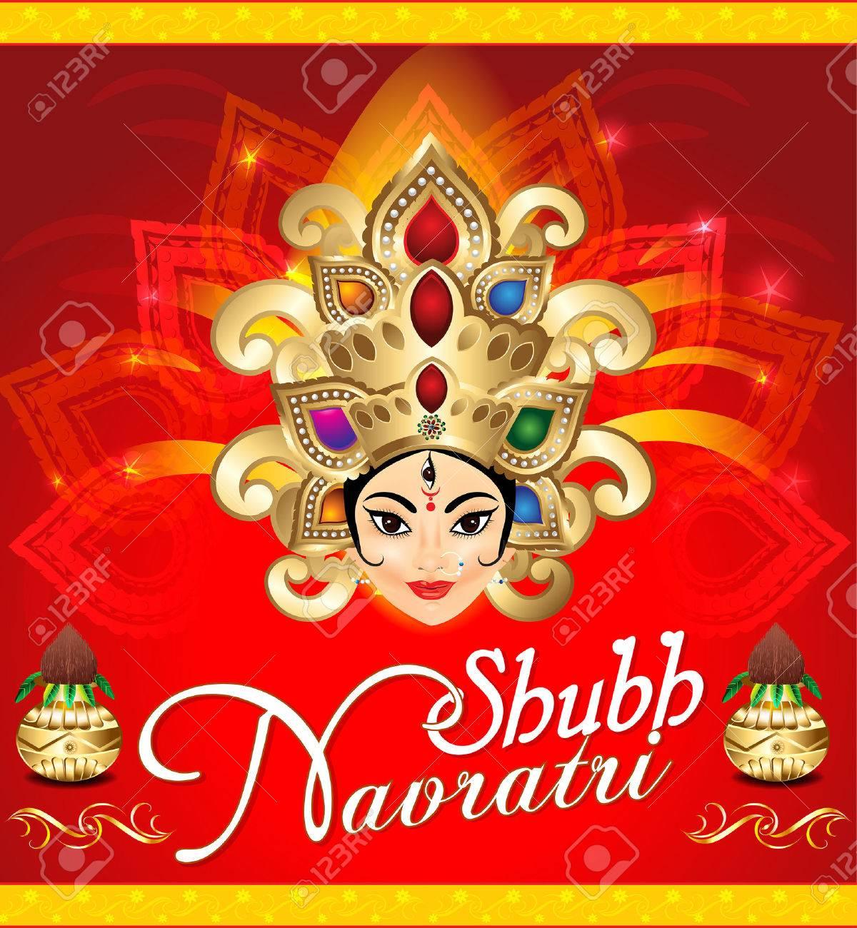 Happy Navratri Celebration Background With Face Of Goddess Durga
