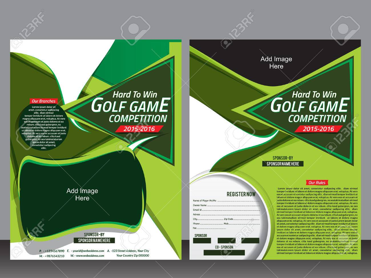 Golf Flyer Template And Magazine Design Vector Illustration Royalty