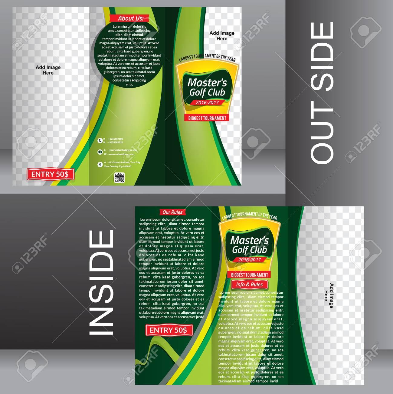 fold green golf brochure template illustration stock vector 50152674