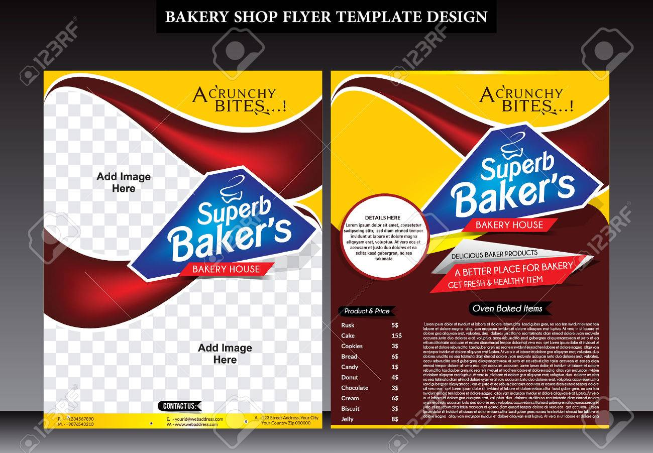Abstract Bakery Shop Flyer Template Design Vector Illustration Stock