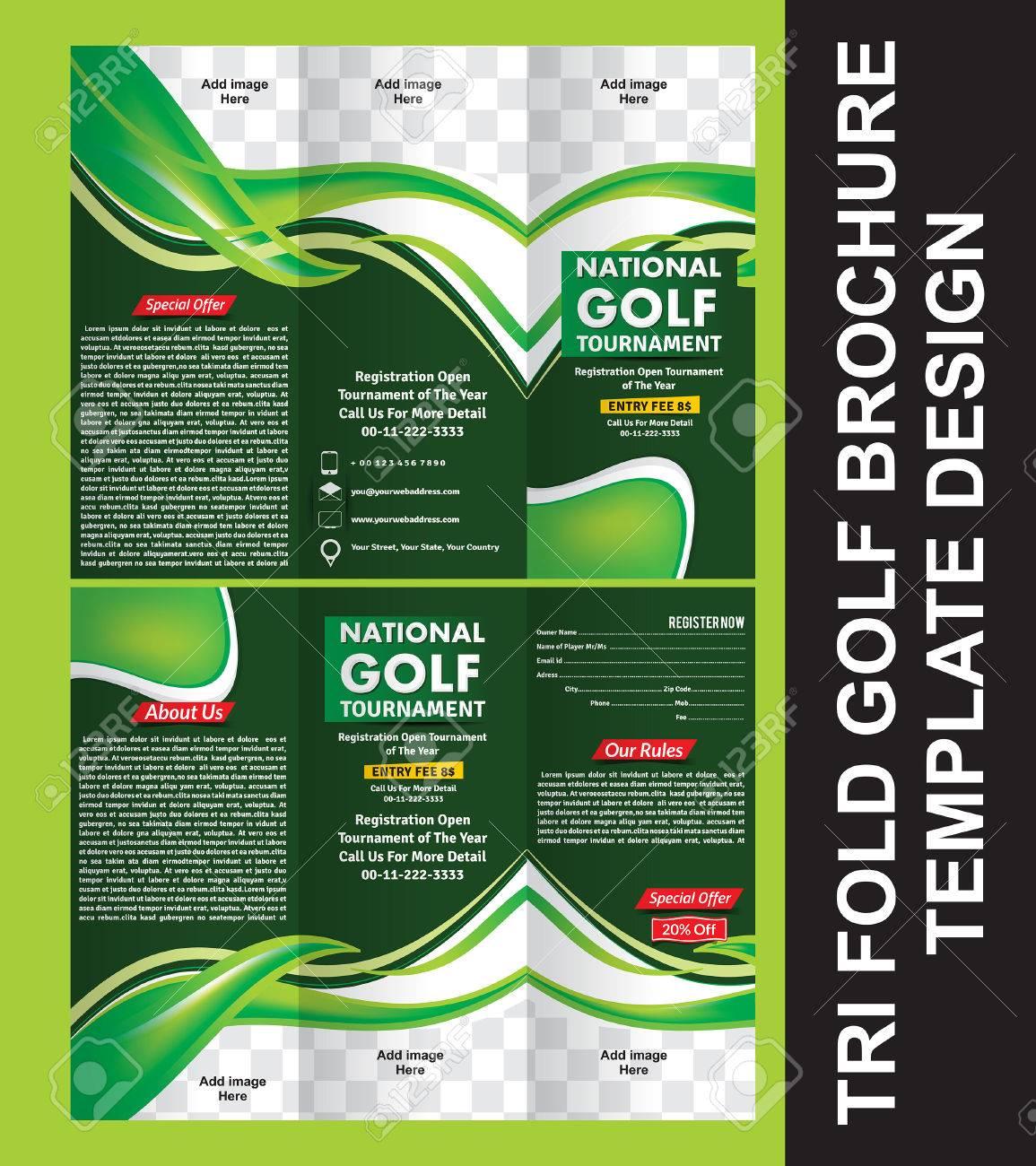 tri fold golf brochure template vector illustration stock vector 68751594