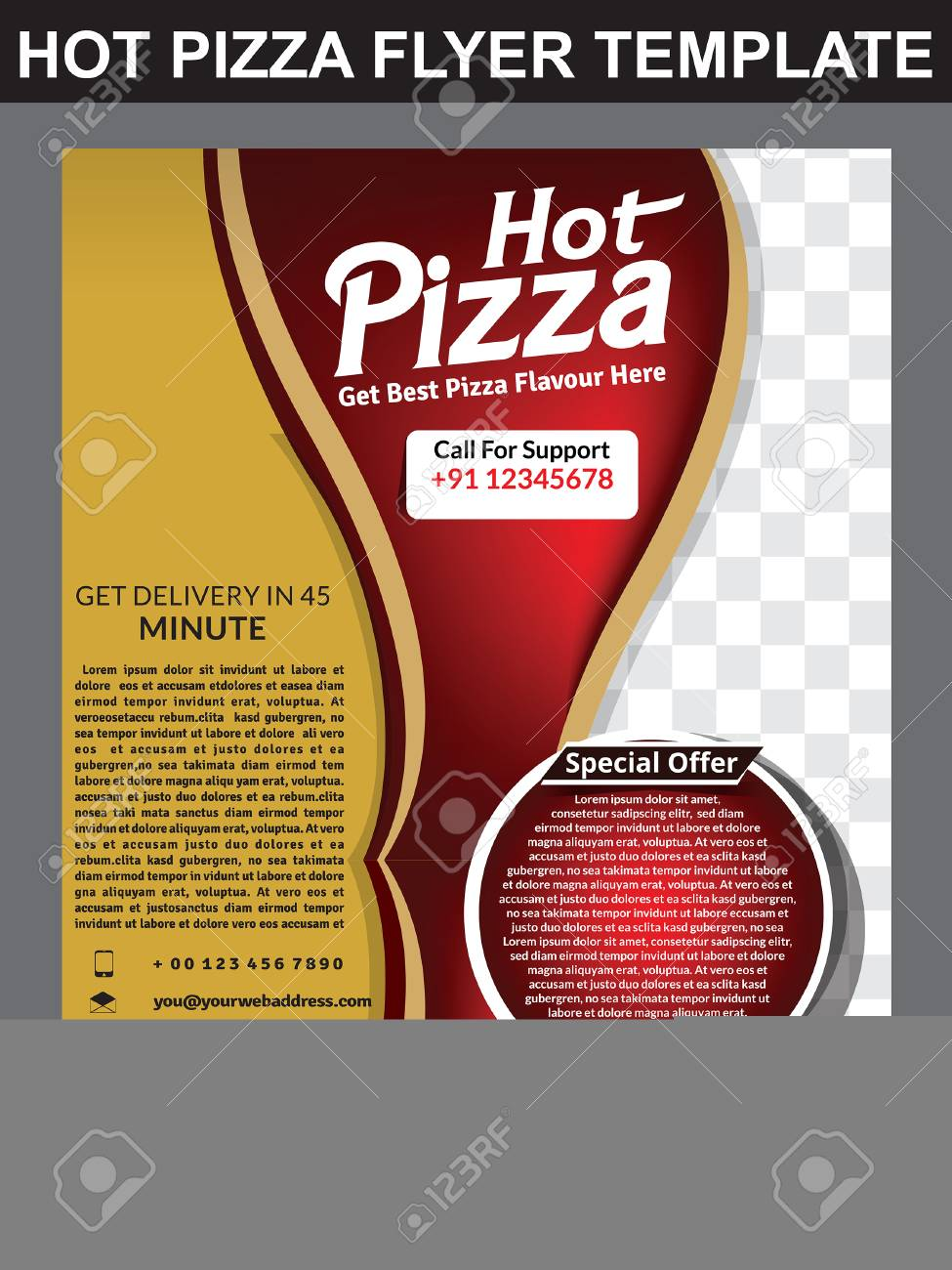hot pizza store flyer template design vector illustration stock vector 73862461