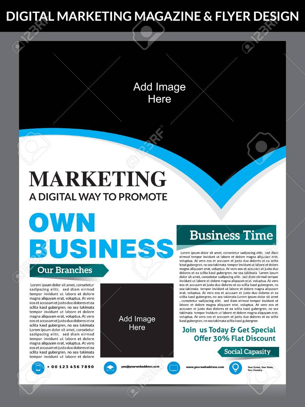 digital marketing flyer magazine design template vector