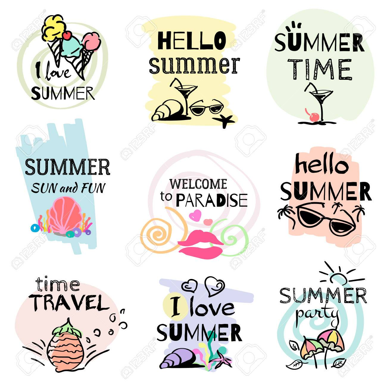Set Of Hand Drawn Watercolor Summer Signs And Banners Vector Illustrations For Holiday
