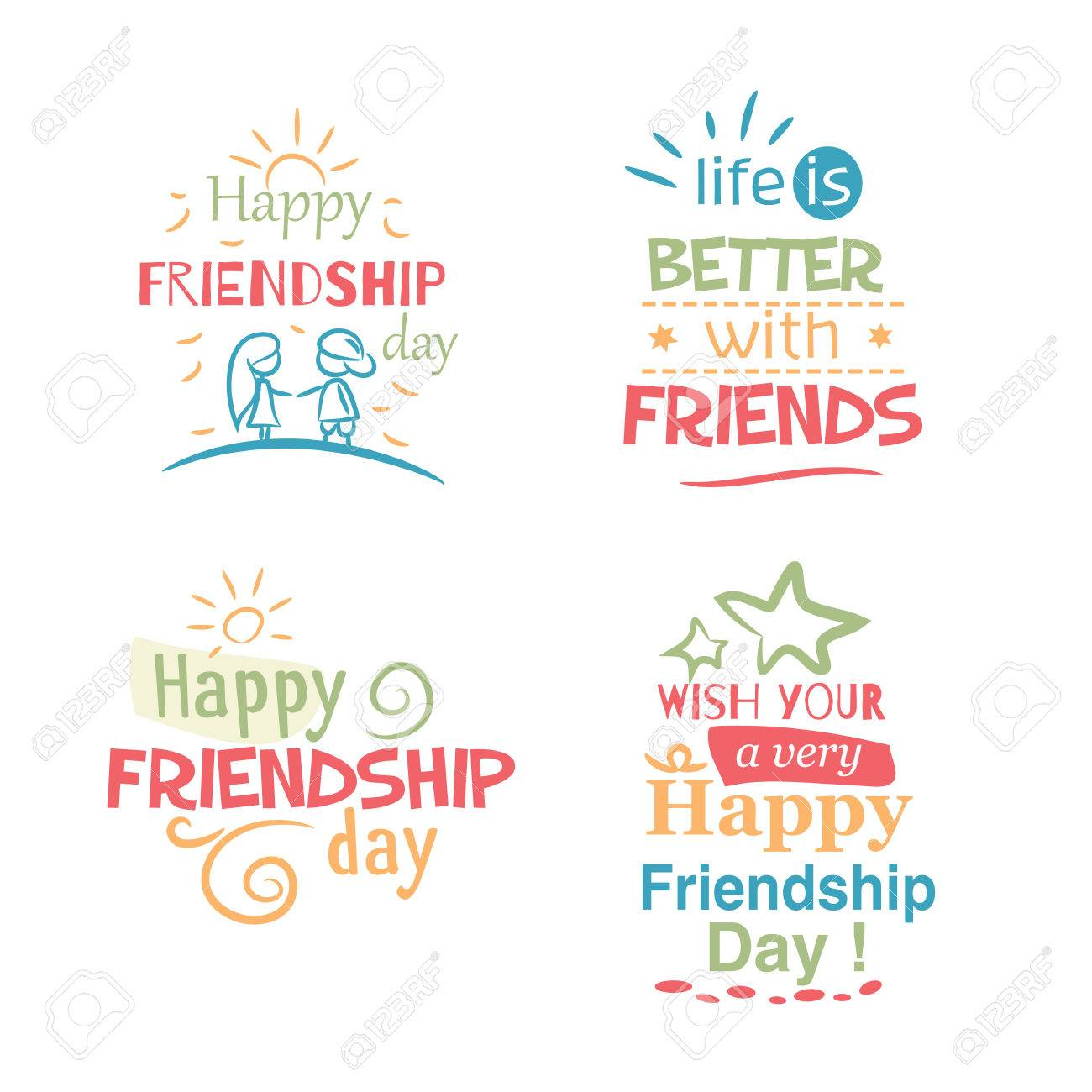 Happy Friendship Day Typographic Colorful Design Inspirational Royalty Free Cliparts Vectors And Stock Illustration Image 63247724