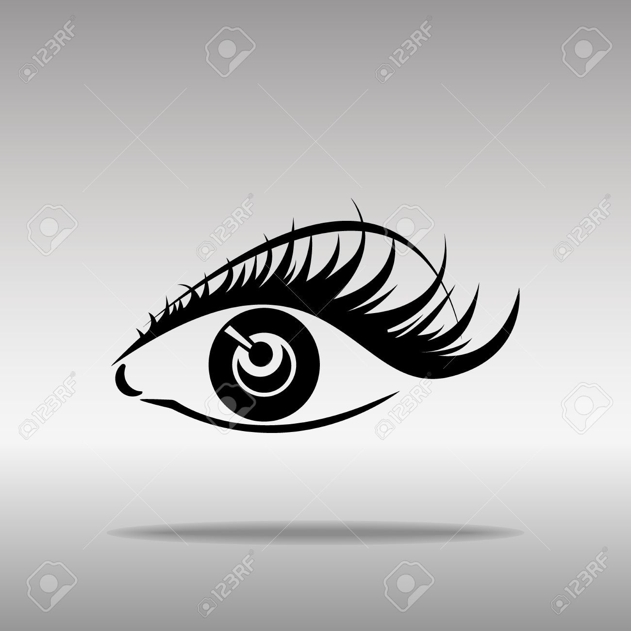 Black silhouettes of eyebrows and eyes isolated on white background. Open and closed eyes. Icon button symbol concept high quality on the gray background - 68022432