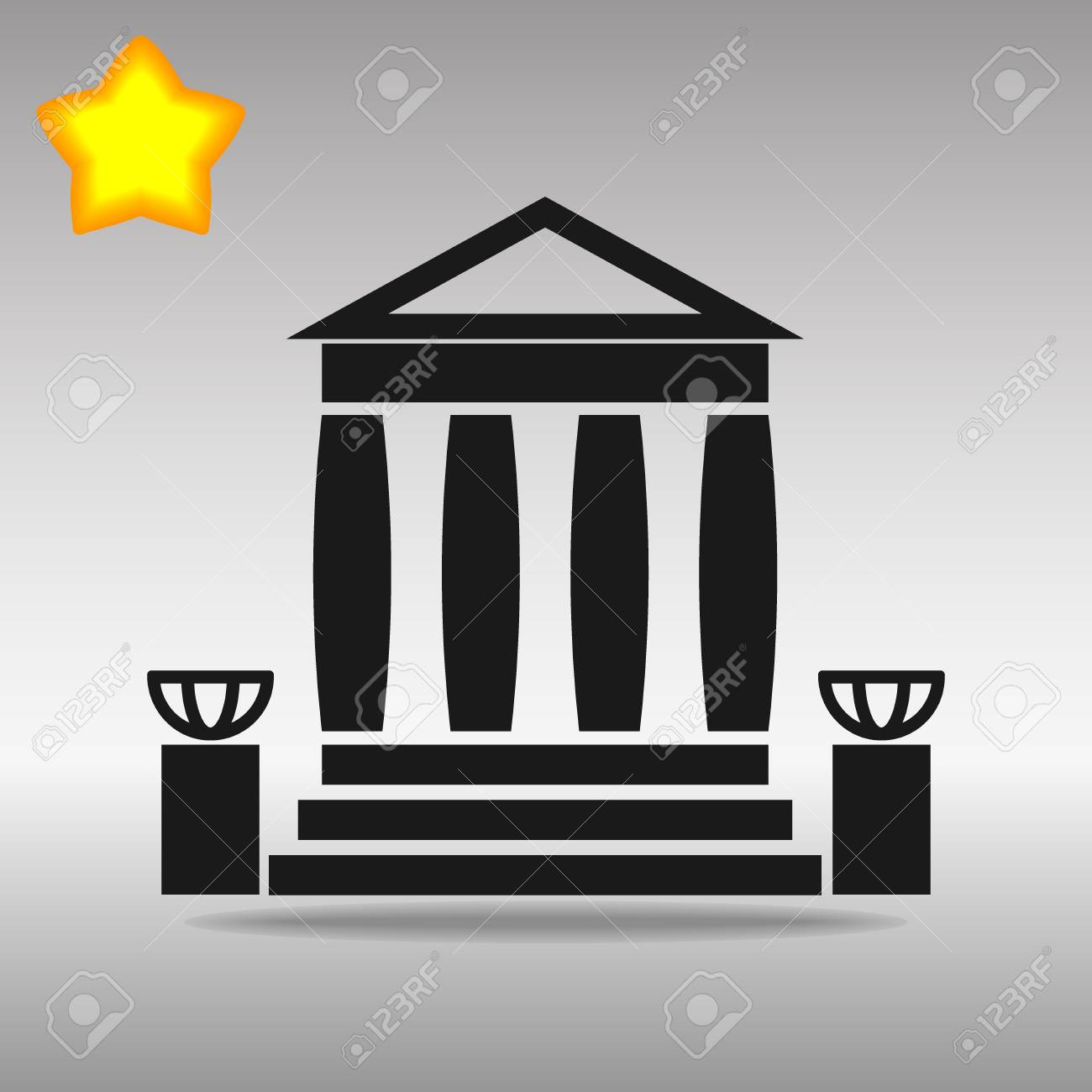 bank building black Icon button logo symbol concept high quality on the gray background - 79142248