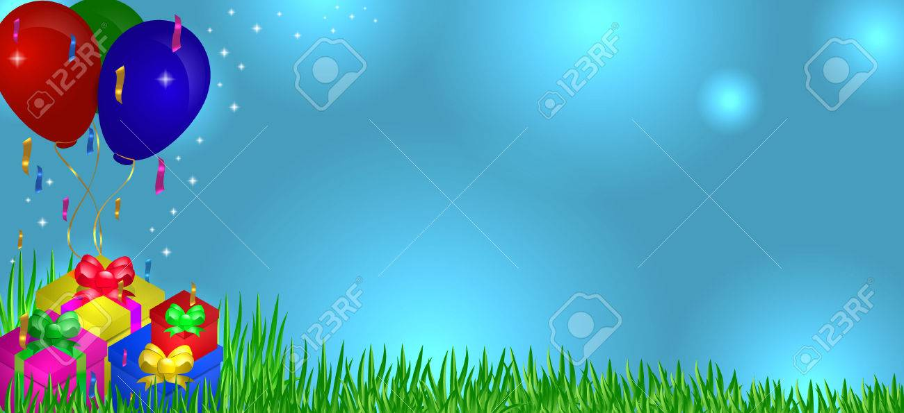 Gifts on grass with balloons in the sky - 79142249