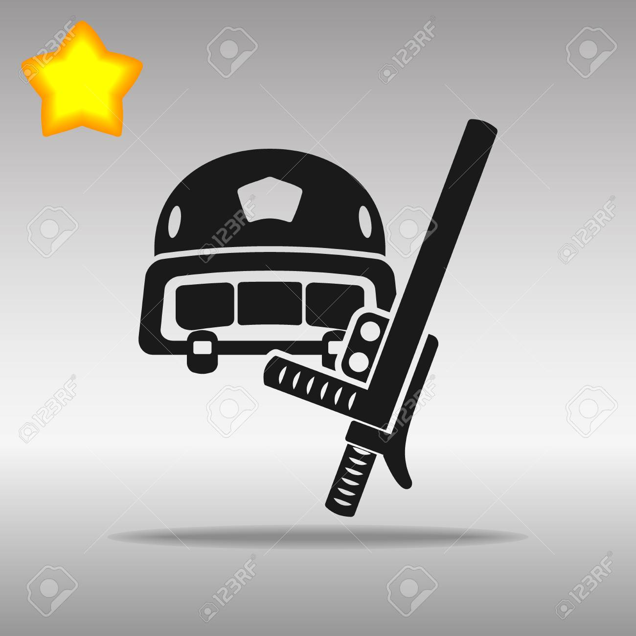 Police helmet and stick black Icon button logo symbol concept high quality on the gray background - 79142252