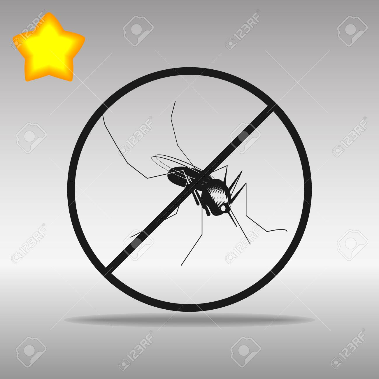 Mosquito ban black Icon button logo symbol concept high quality on the gray background - 79142260