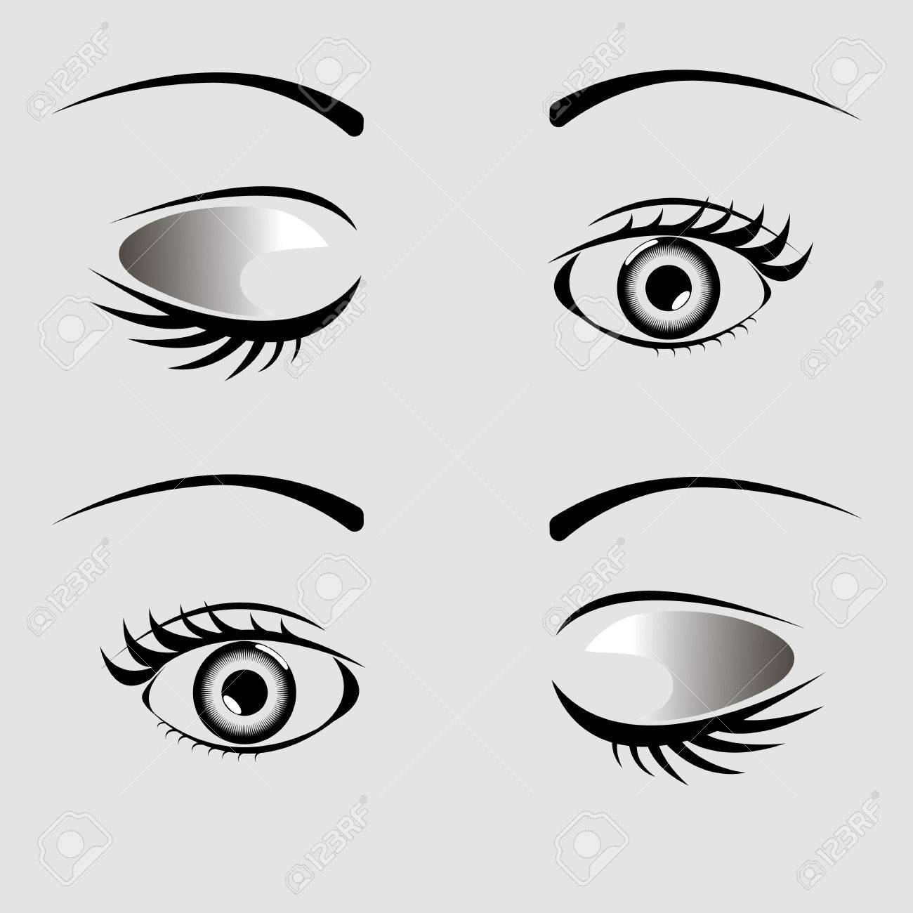 Open and closed eyes with eyelash and eyebrow on a gray background - 79142266