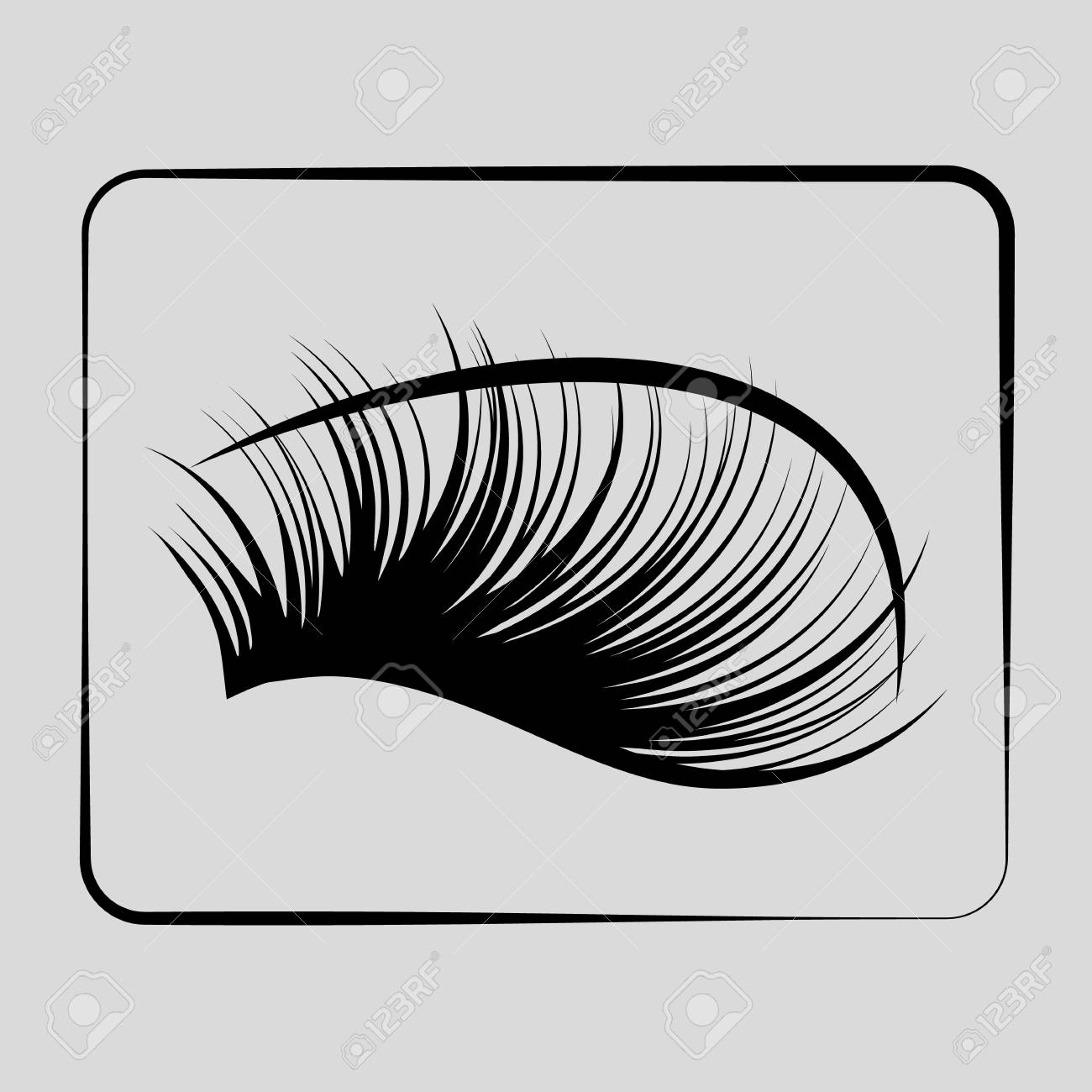 eyelashes icon on a gray background In a black rectangle - 80838226