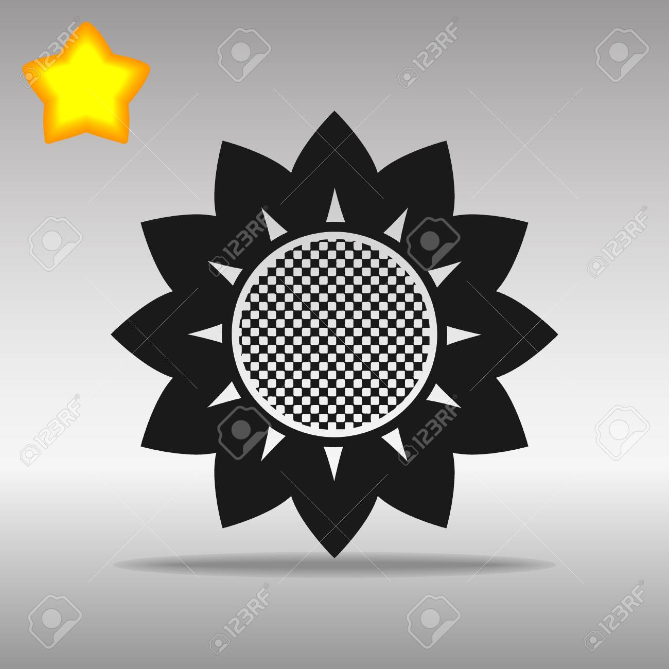 flower black Icon button logo symbol concept high quality on the gray background - 82176374