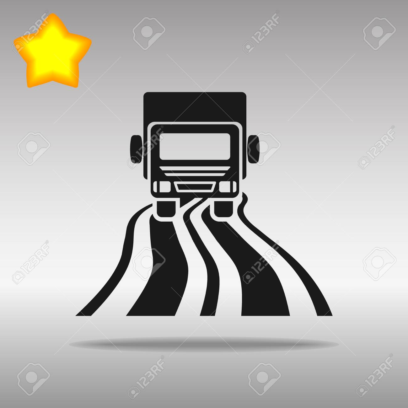 black truck on the road Icon button logo symbol concept high quality on the gray background - 82176376