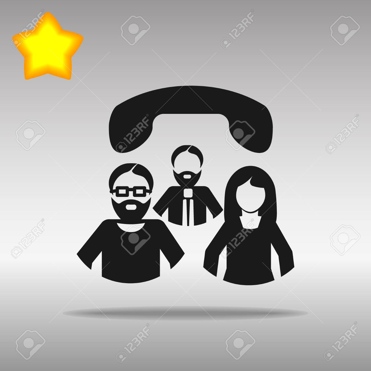 Conference call black Icon button logo symbol concept high quality on the gray background - 82176380