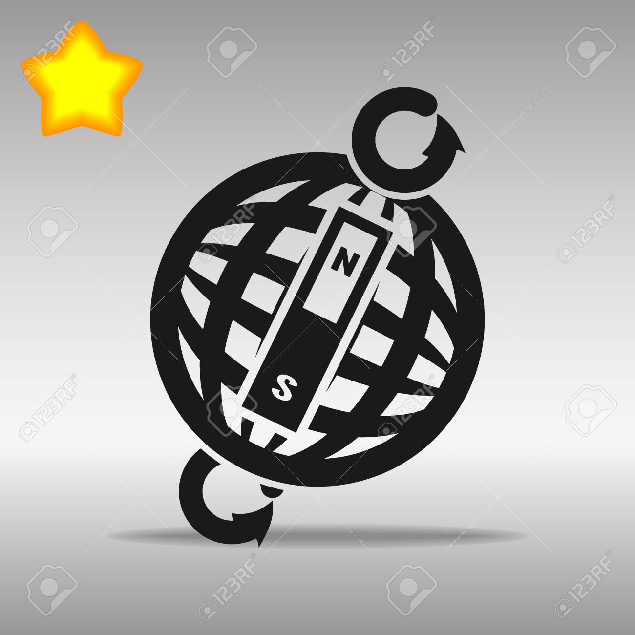 compass black con button logo symbol concept high quality on the gray background - 82176381