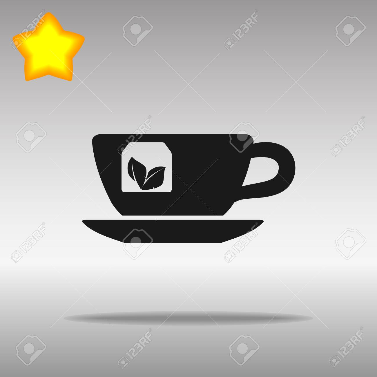 tea cup black Icon button logo symbol concept high quality on the gray background - 82176382
