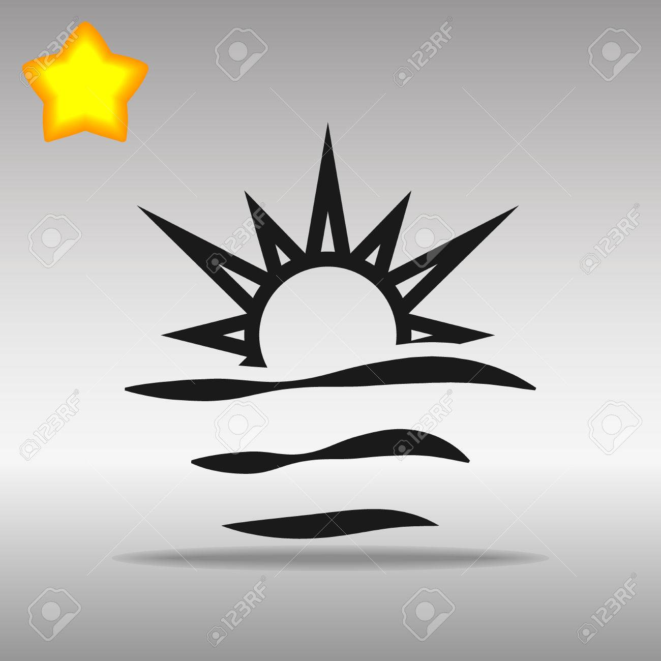 black sunrise Icon button logo symbol concept high quality on the gray background - 82176388