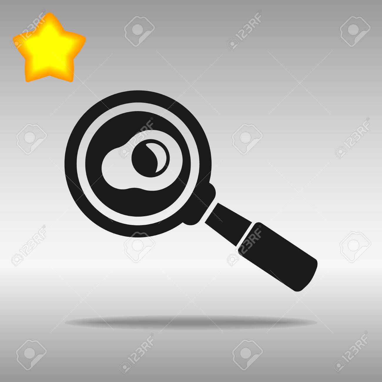 black Frying pan with egg Icon button logo symbol concept high quality on the gray background - 82176409