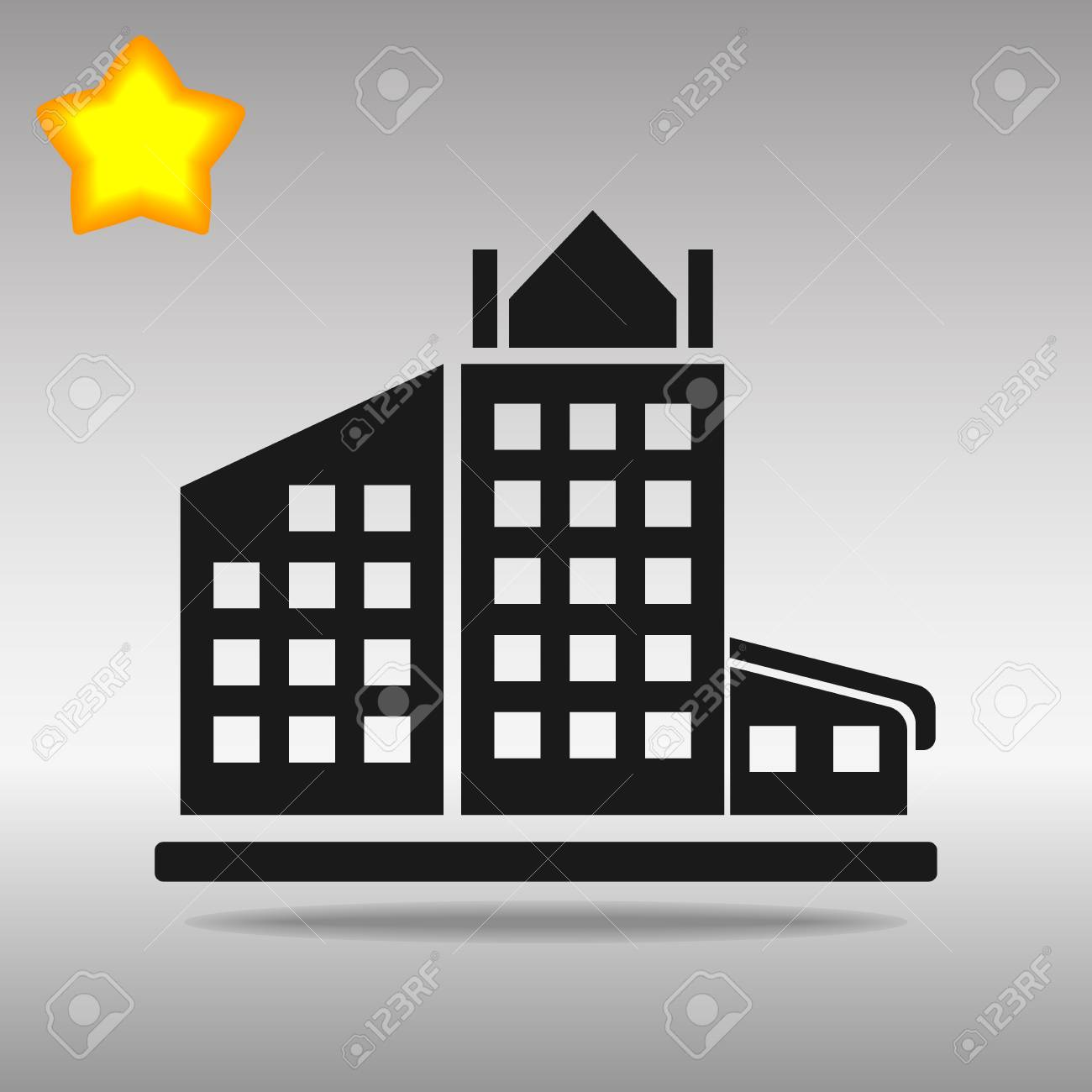 black building Icon button logo symbol concept high quality on the gray background - 82176411