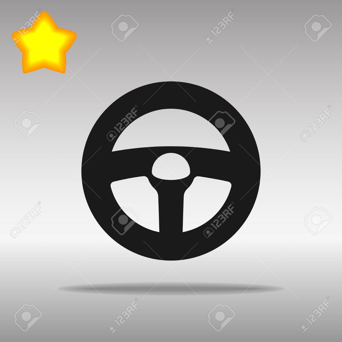 black steering wheel Icon button logo symbol concept high quality on the gray background - 82176413