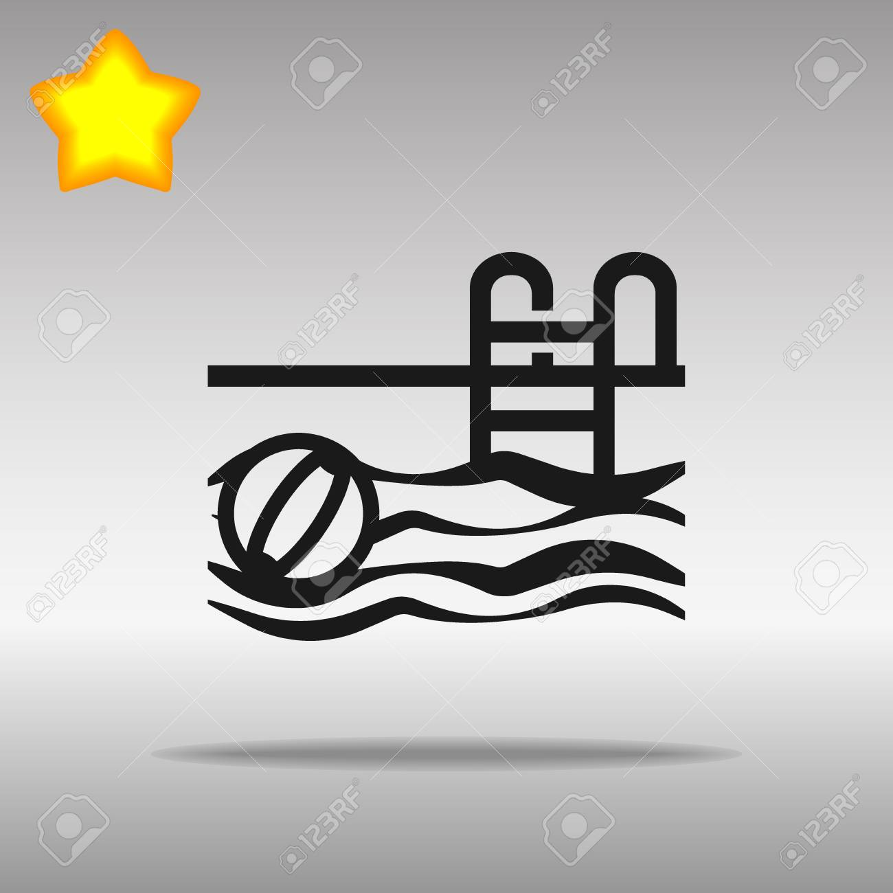 black Swimming Pool Icon button logo symbol concept high quality on the gray background - 82176450