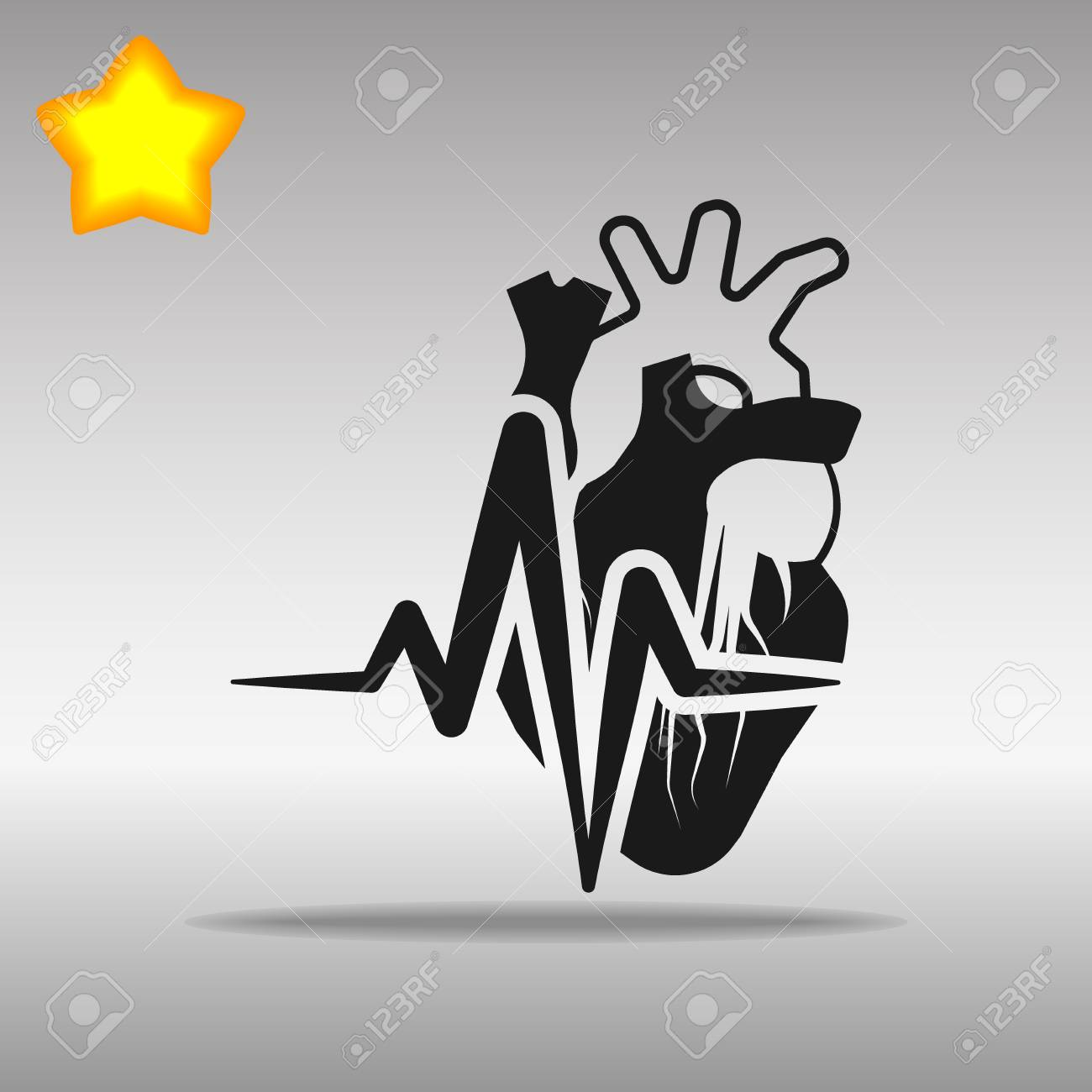 heartbeat heart black Icon button logo symbol concept high quality on the gray background - 82176451