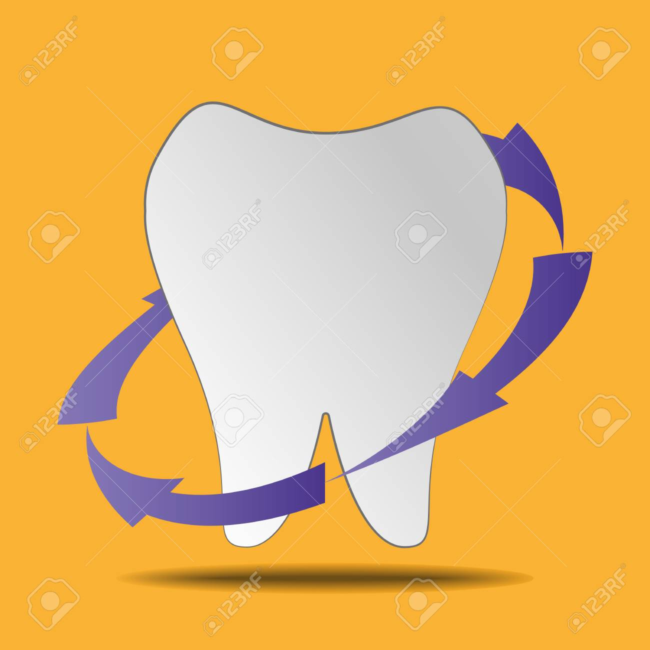 Clean white tooth on a yellow background - 83389120